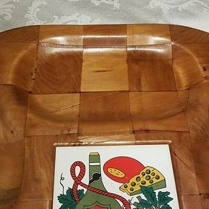 Accents - Vintage Large Wooden Snack Tray w Ceramic Insert
